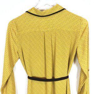 LOFT Dresses - Loft | Yellow Long Sleeve Half Button Shirt Dress